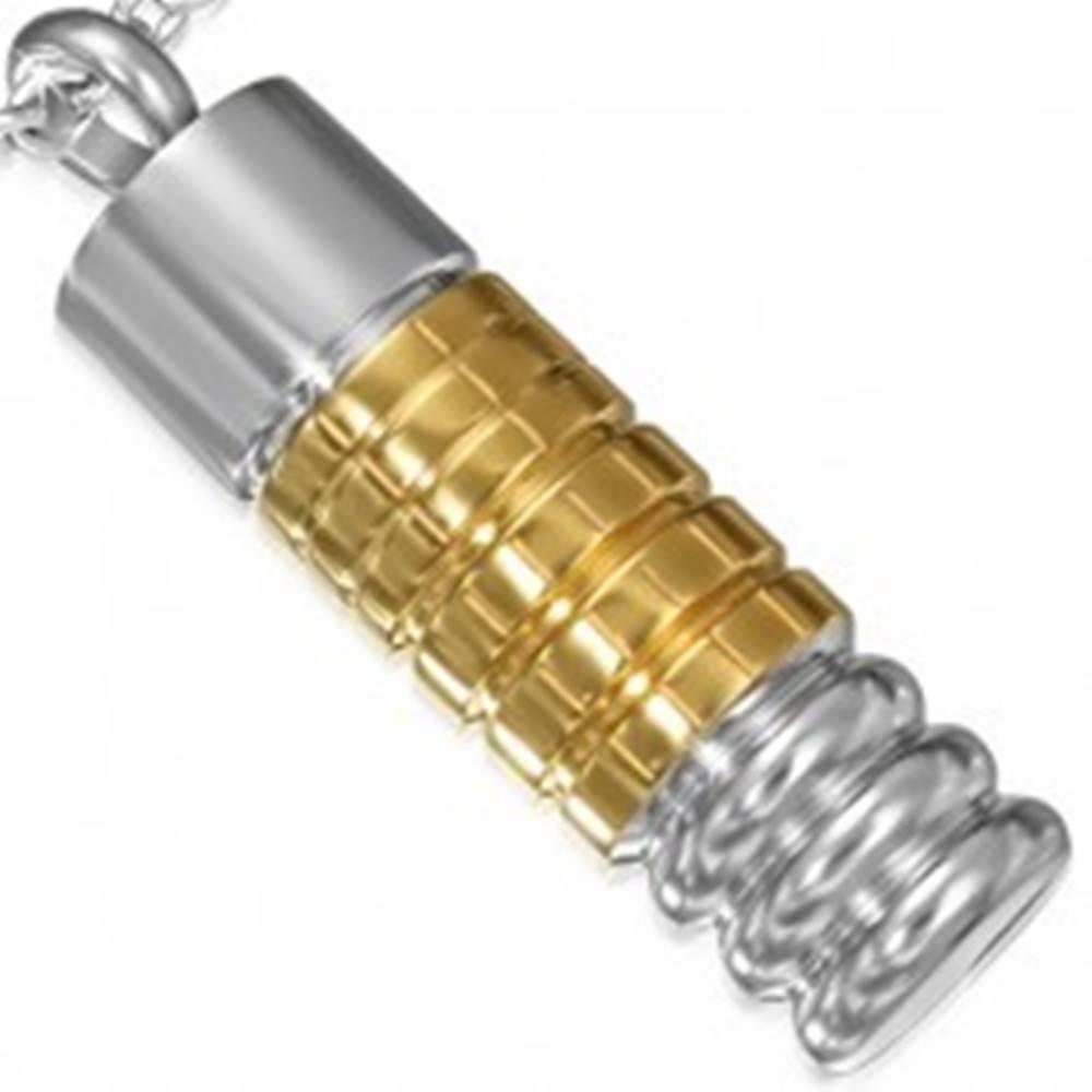 Šperky eshop Lesklý oceľový prívesok - dvojfarebný vzorovaný valček