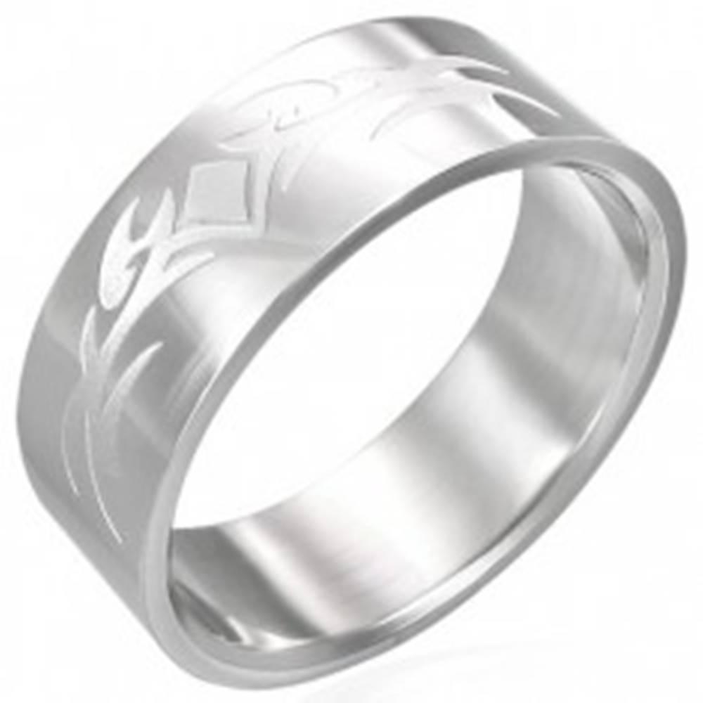 Šperky eshop Lesklý oceľový prsteň s matným symbolom - Veľkosť: 54 mm