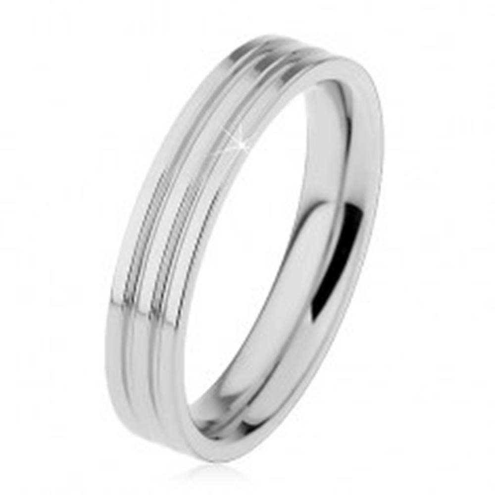 Šperky eshop Lesklý prsteň z ocele 316L striebornej farby, dva pozdĺžne zárezy, 4 mm - Veľkosť: 49 mm