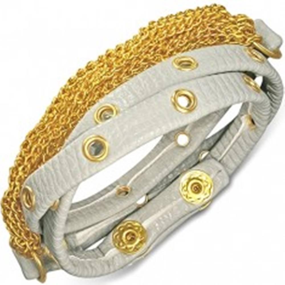 Šperky eshop Náramok z kože - sivý pás s vybíjaním a retiazkami zlatej farby