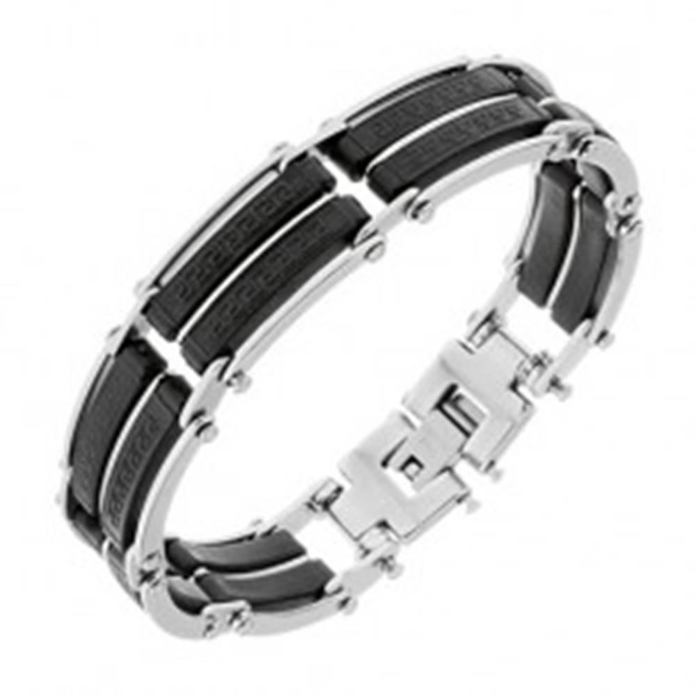 Šperky eshop Náramok z ocele, čierne gumené časti s pásikmi striebornej farby, grécky kľúč - Dĺžka: 195 mm