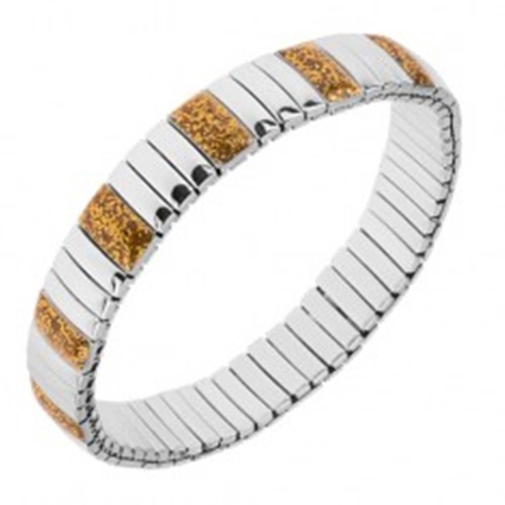 Šperky eshop Náramok z ocele, lesklé podlhovasté články striebornej a žltej farby, strečový
