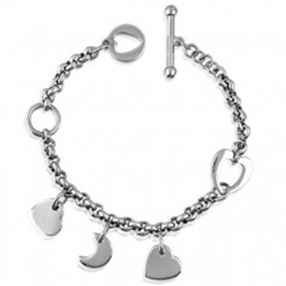 Šperky eshop Náramok z ocele srdiečko-mesiačik