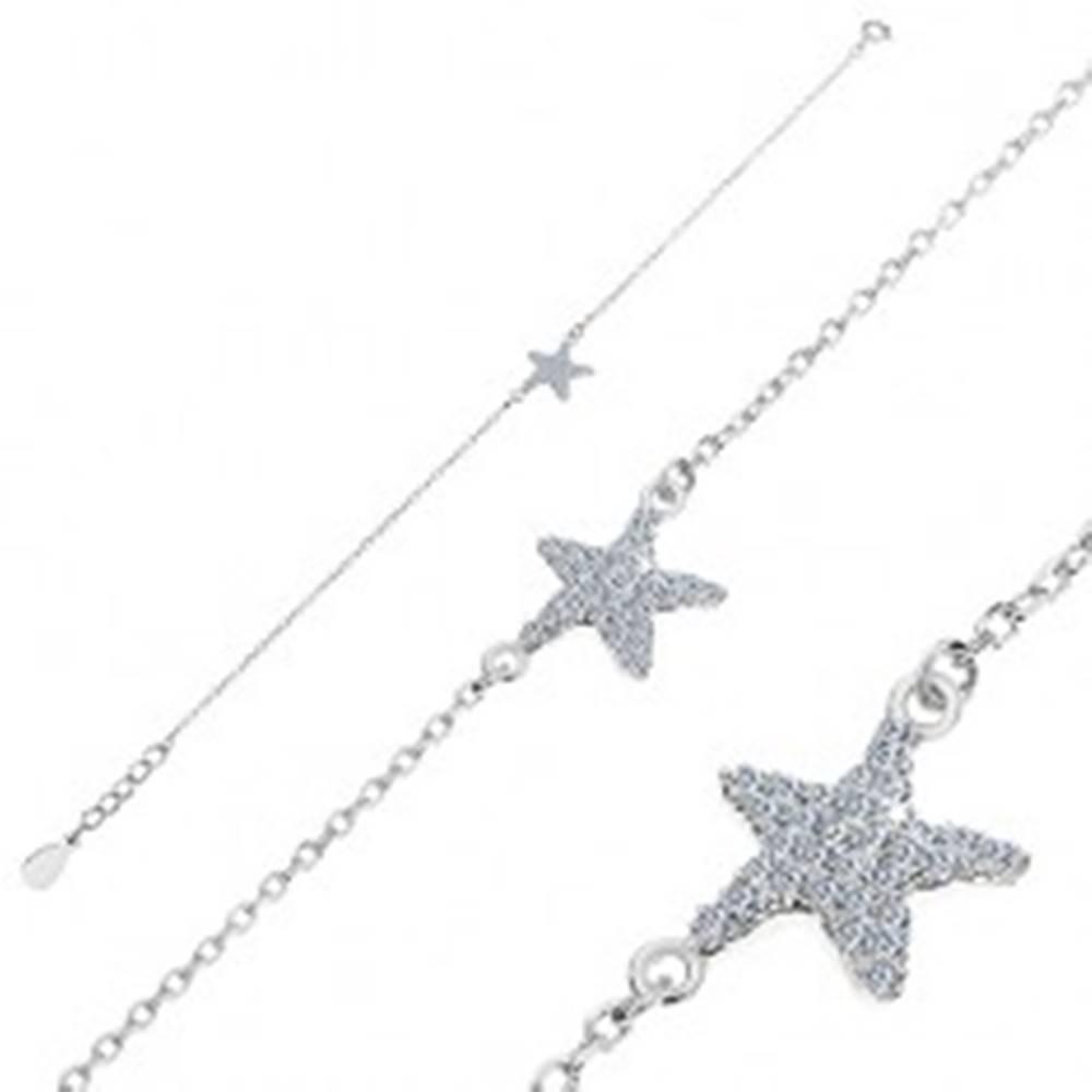 Šperky eshop Náramok zo striebra 925 - zirkónová morská hviezdica, retiazka z oválnych očiek