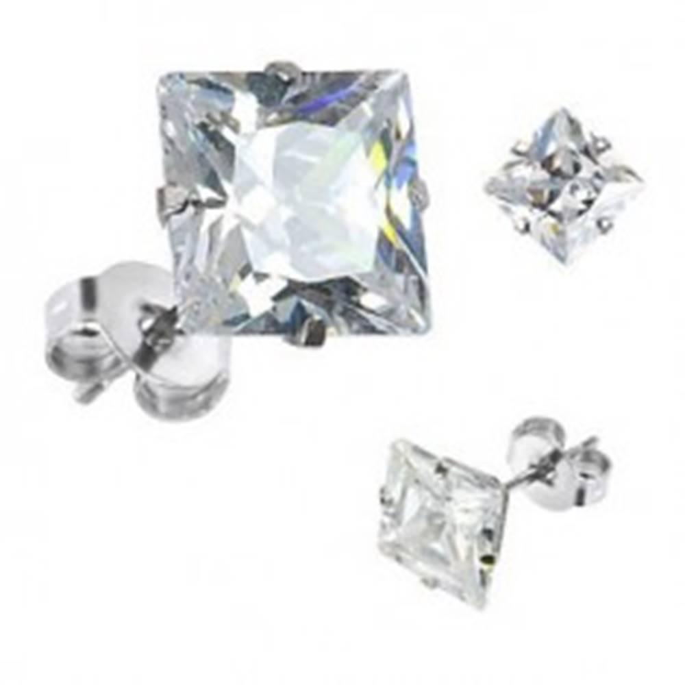 Šperky eshop Náušnice s puzetkami, striebro 925, brúsený zirkónový štvorec čírej farby, 6 mm