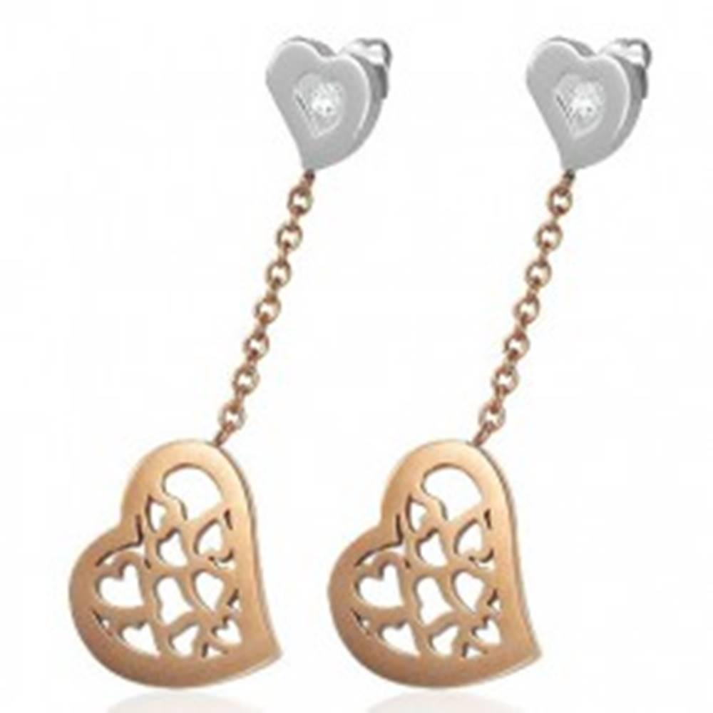 Šperky eshop Náušnice z chirurgickej ocele, visiace srdce s výrezmi v medenom odtieni