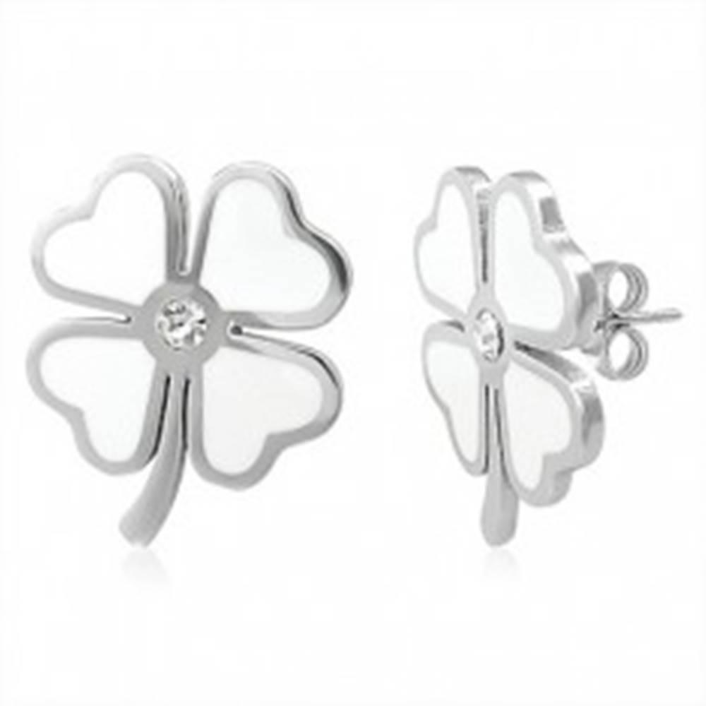 Šperky eshop Náušnice z ocele 316L, biely glazúrovaný štvorlístok pre šťastie