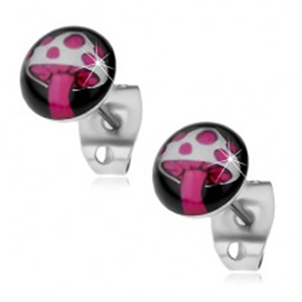 Šperky eshop Náušnice z ocele 316L, ružovo-biela muchotrávka na čiernom kruhu
