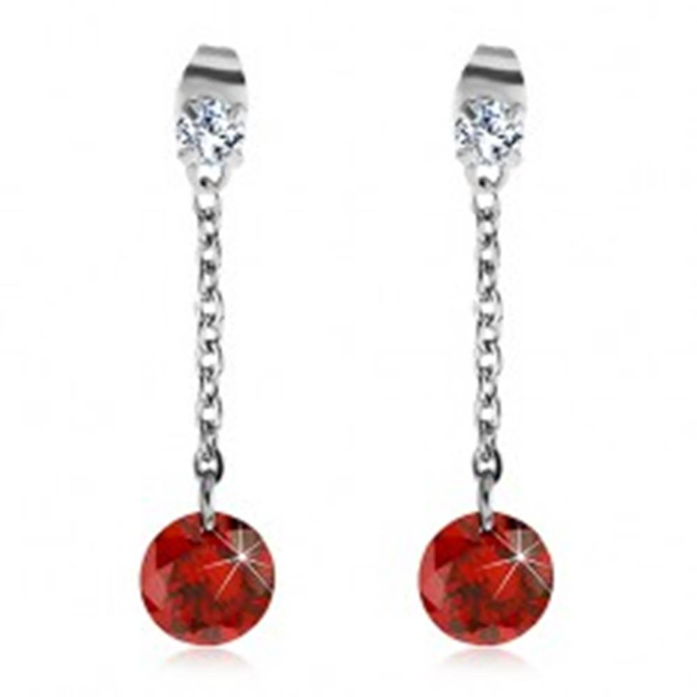 Šperky eshop Náušnice z ocele 316L s veľkým červeným zirkónom na retiazke