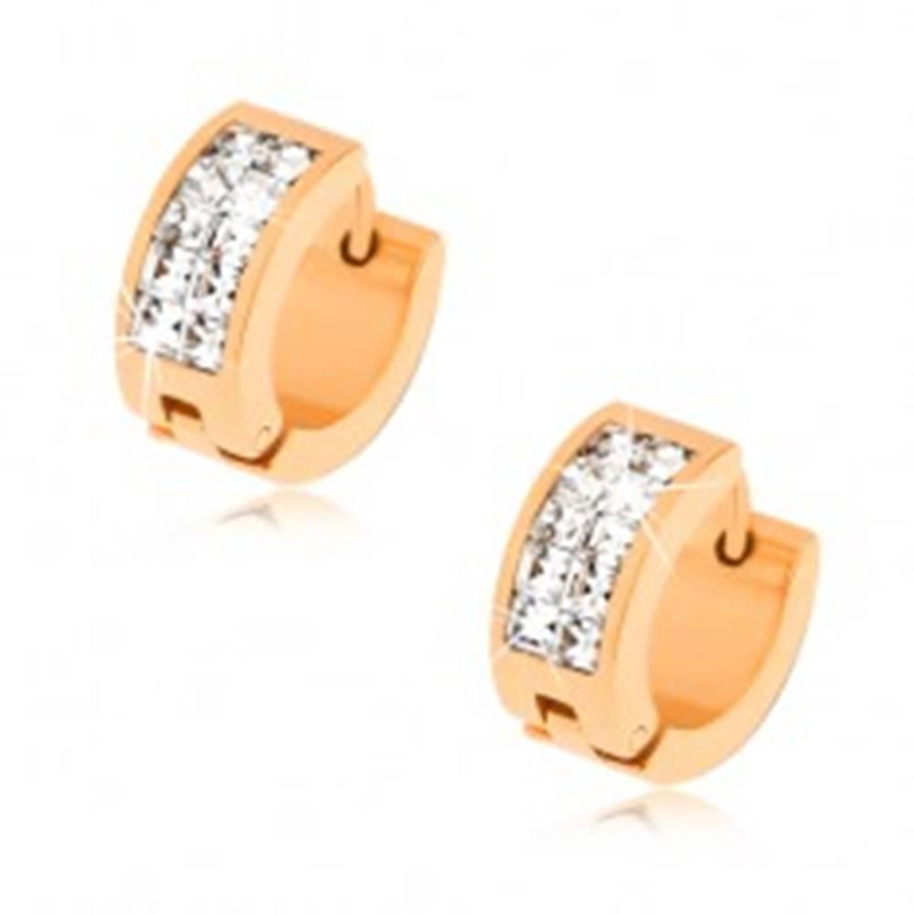 Šperky eshop Náušnice z ocele v zlatej farbe, dvojitá línia čírych zirkónov