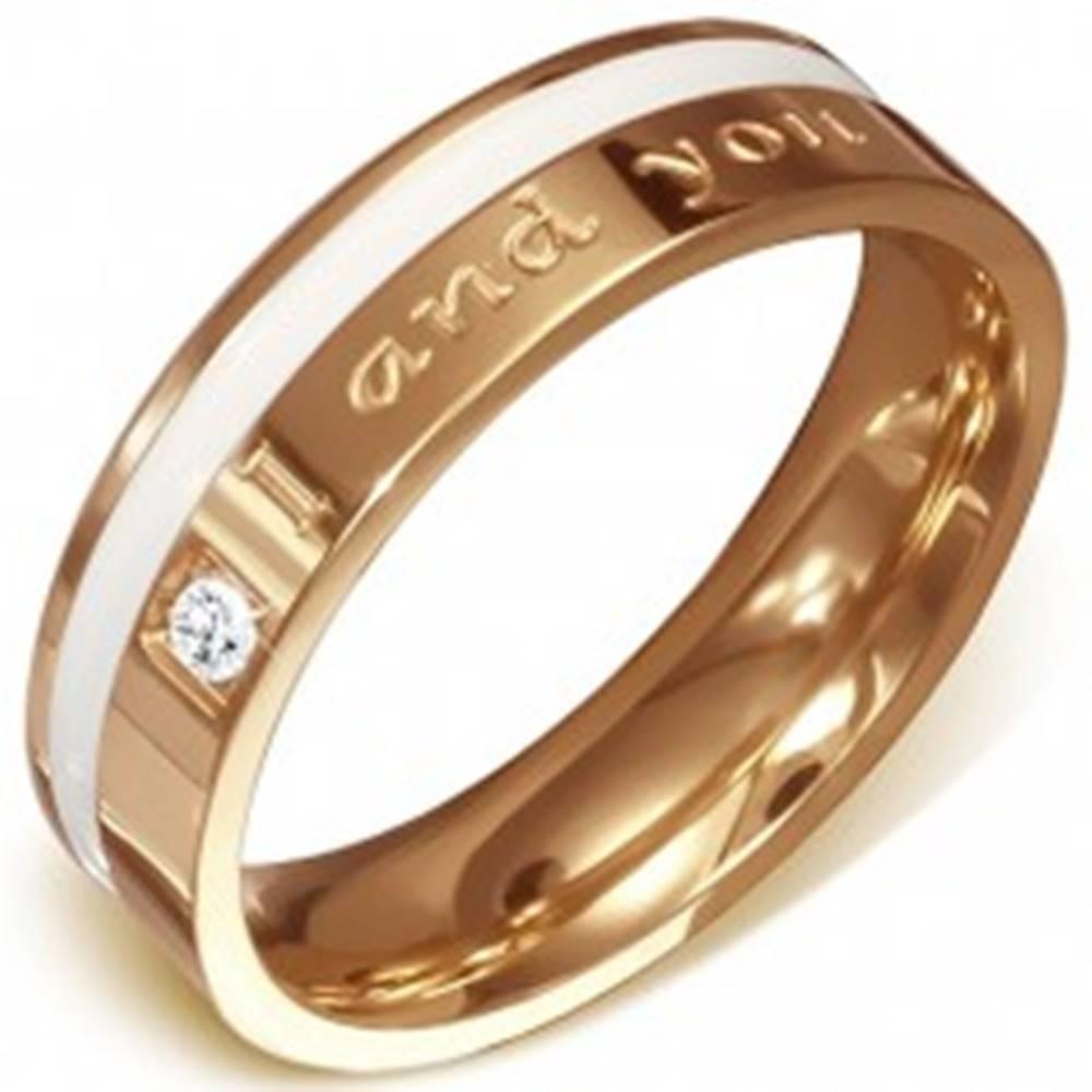 Šperky eshop Oceľová obrúčka medenej farby - nápis I and you, biely pásik, zirkón - Veľkosť: 54 mm