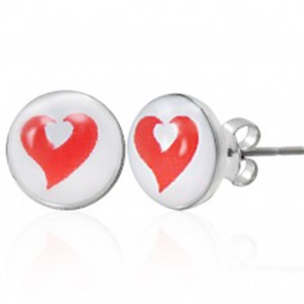 Šperky eshop Oceľové náušnice červené a biele srdce