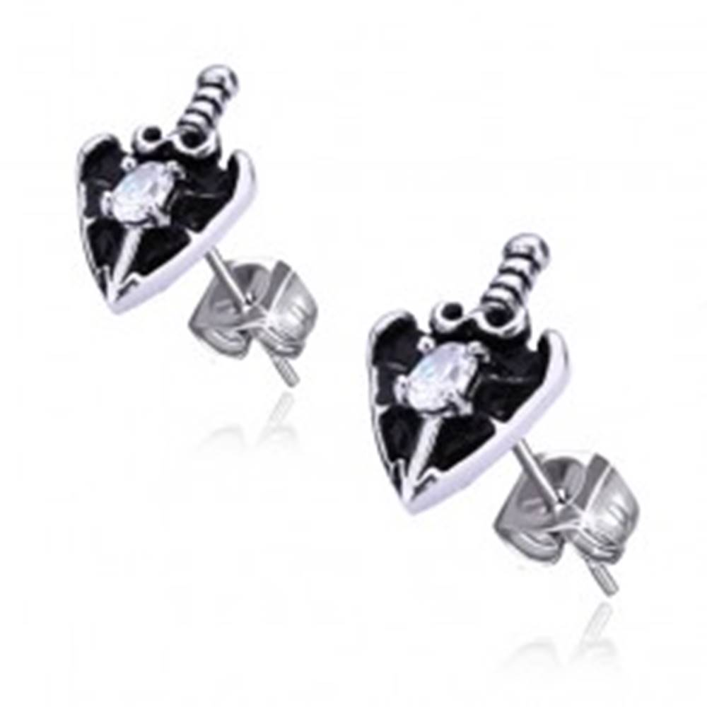 Šperky eshop Oceľové náušnice - meč v srdci, oválny číry zirkón