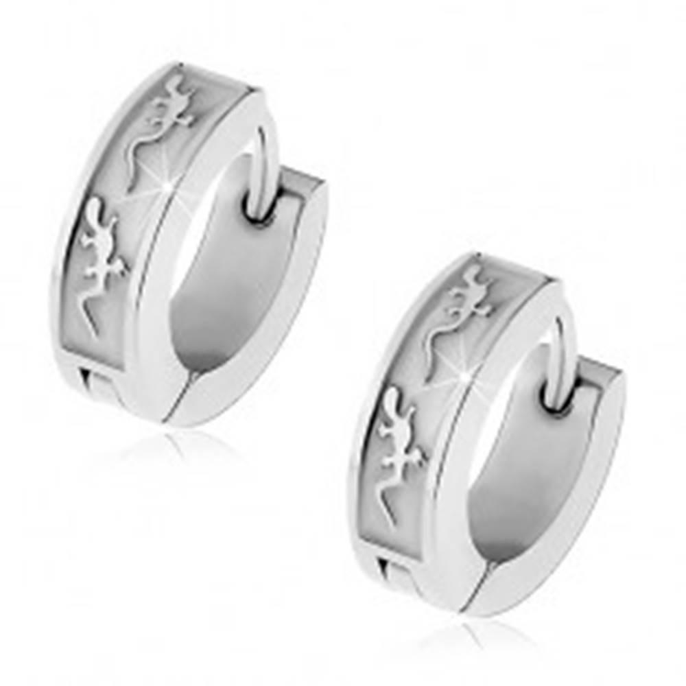 Šperky eshop Oceľové náušnice s kĺbovým zapínaním, strieborná farba, dve malé jašteričky