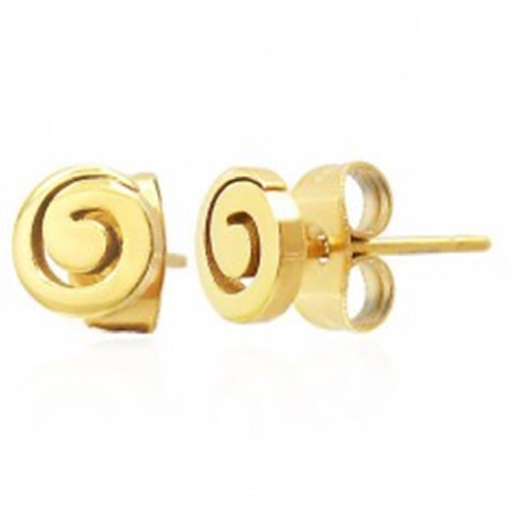 Šperky eshop Oceľové puzetové náušnice - lesklá špirála zlatej farby