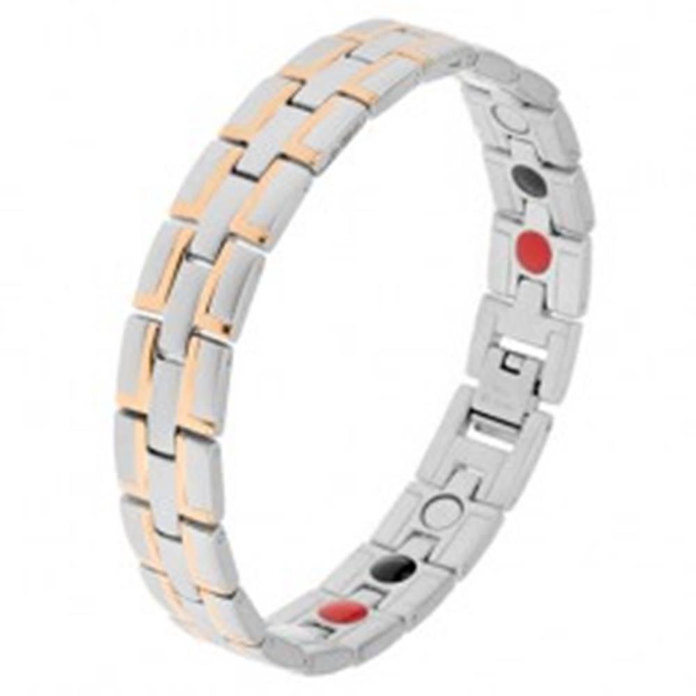 """Šperky eshop Oceľový náramok matnej striebornej farby, """"L"""" línie v zlatej farbe, magnety"""