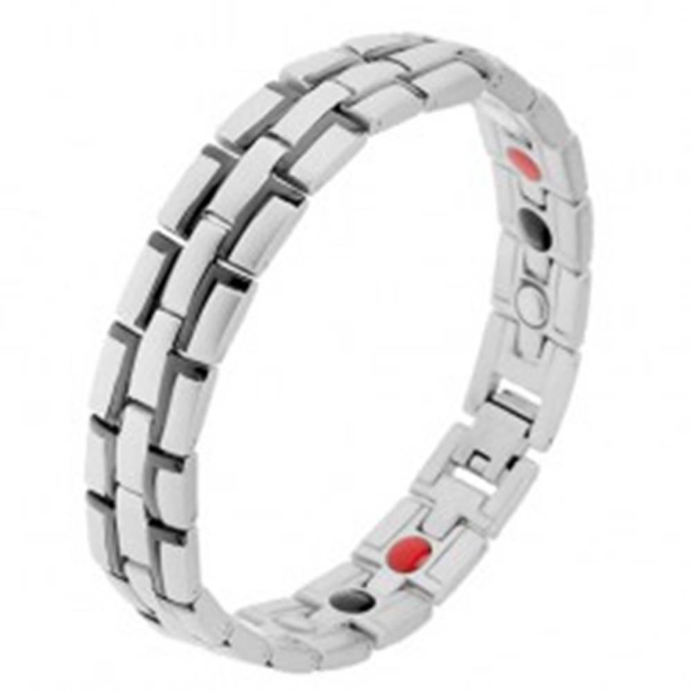"""Šperky eshop Oceľový náramok s magnetmi, strieborná farba, čierne """"L"""" línie"""