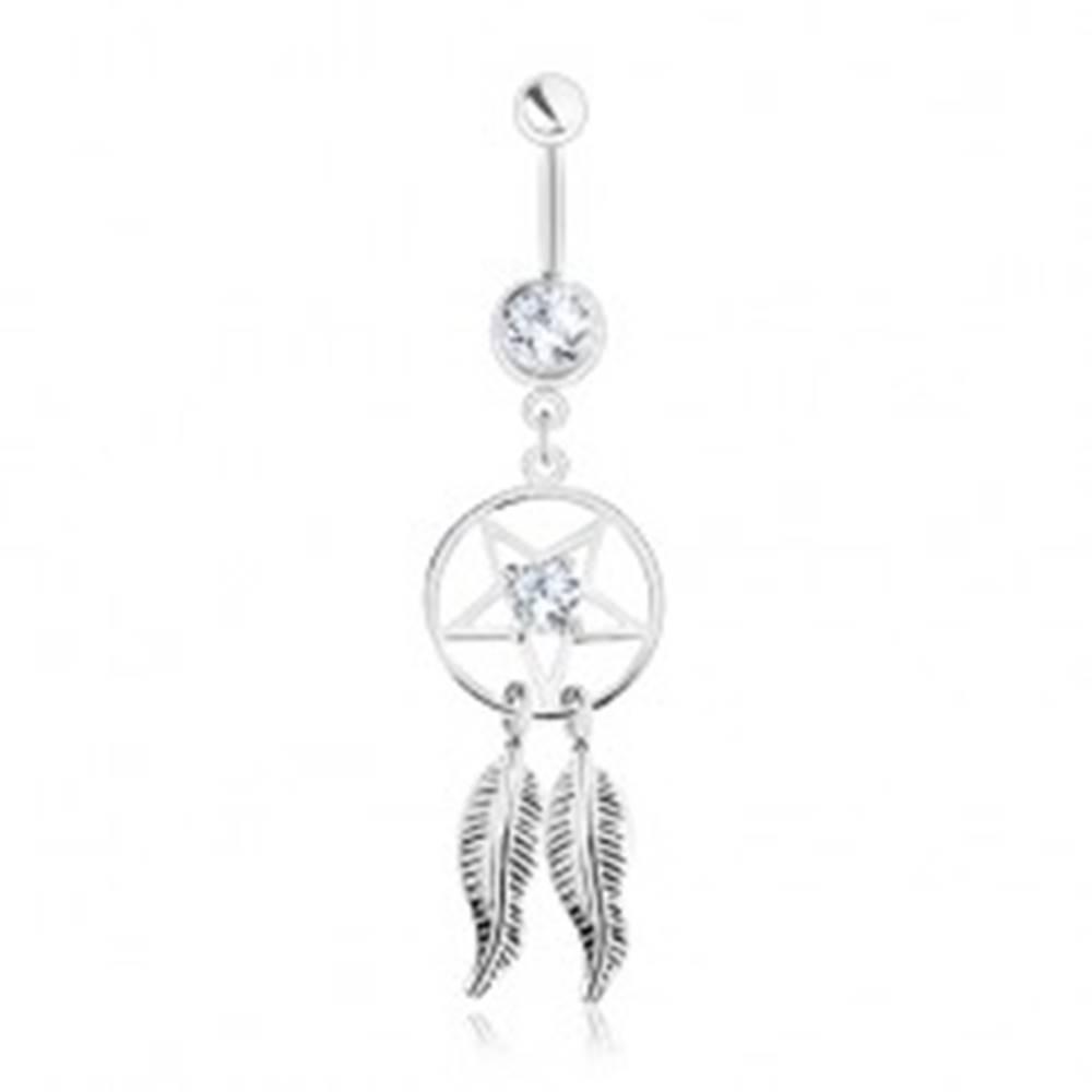 Šperky eshop Oceľový piercing do brucha, lapač snov - pentagram, pierka, číre zirkóny