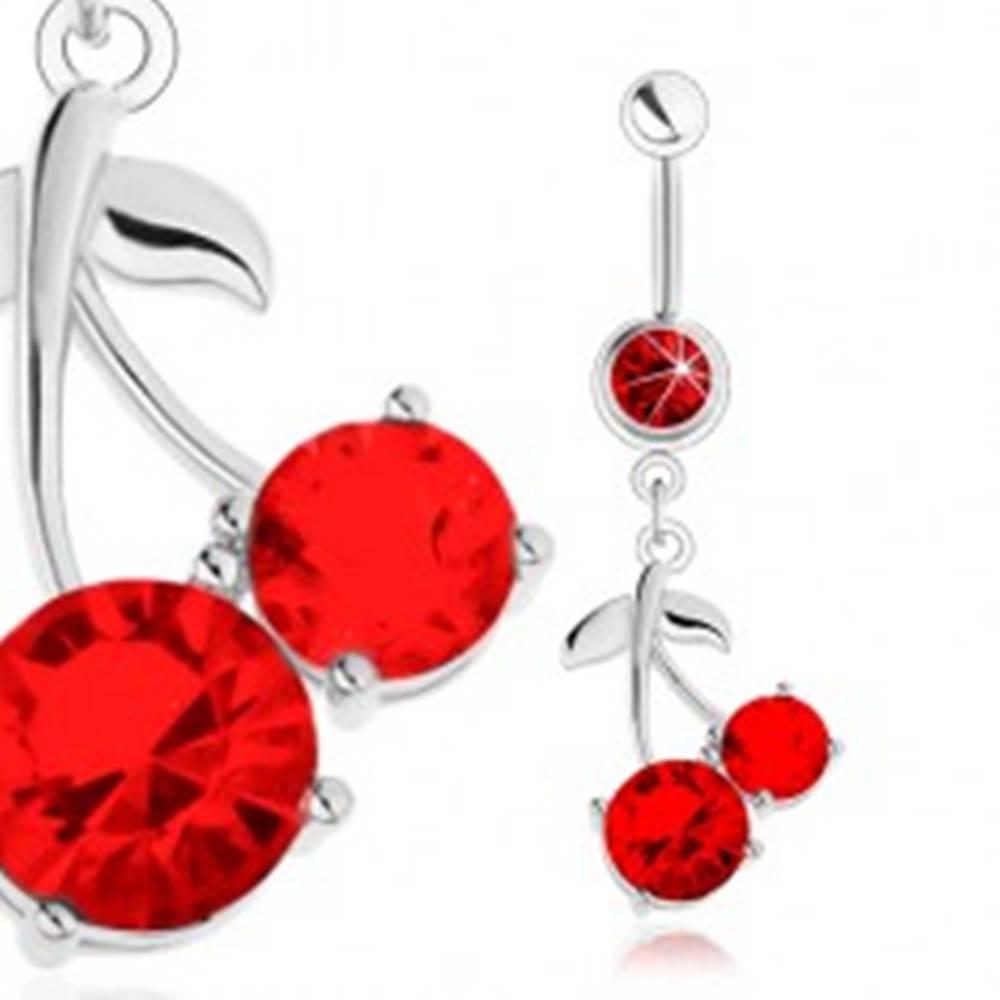 Šperky eshop Oceľový piercing do brucha, strieborný odtieň, červené čerešne, lesklé lístky