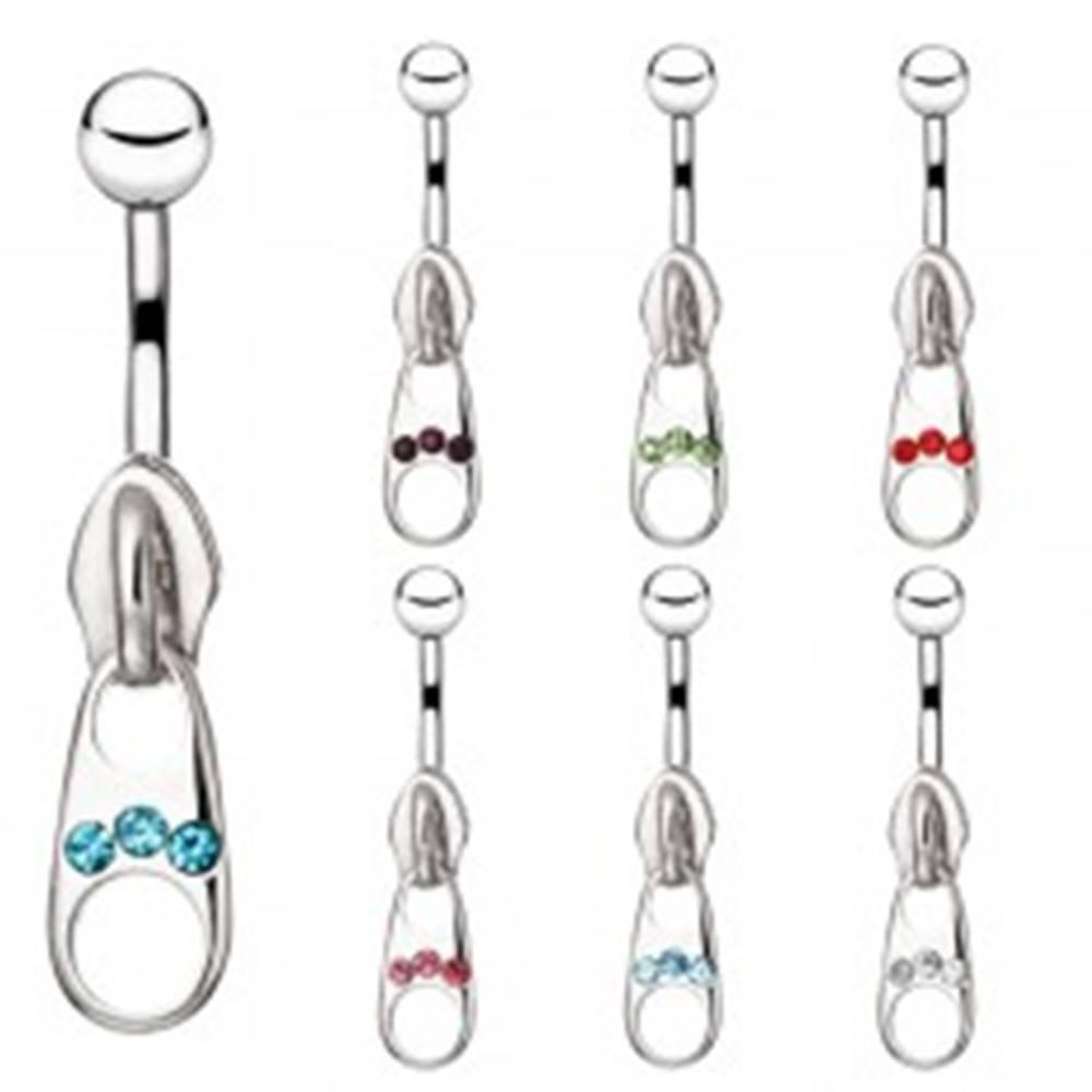 Šperky eshop Oceľový piercing do bruška - ozdobný zips so zirkónmi - Farba zirkónu: Aqua modrá - Q