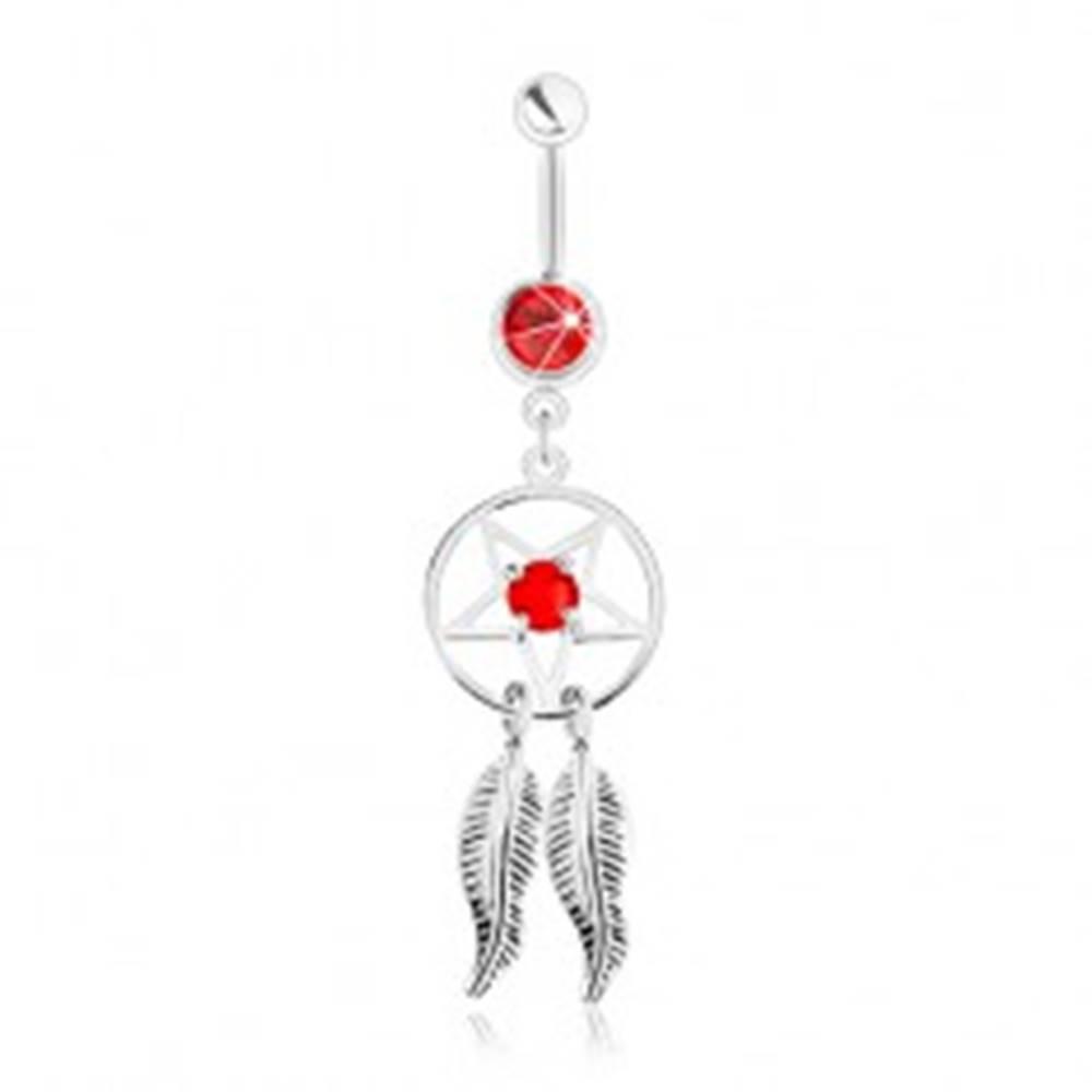 Šperky eshop Oceľový piercing do pupka, lapač snov s pentagramom, pierkami a červeným zirkónom