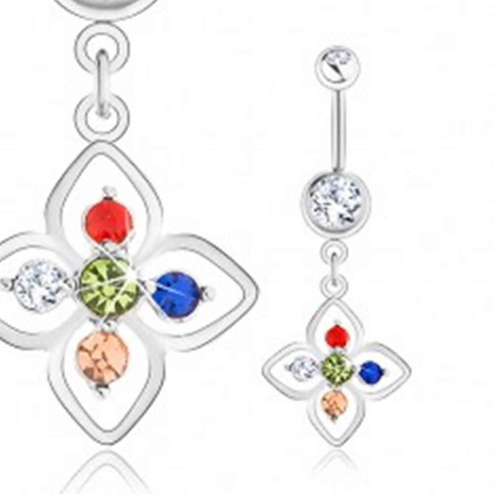 Šperky eshop Oceľový piercing do pupka, strieborná farba, kvietok zdobený farebnými zirkónmi