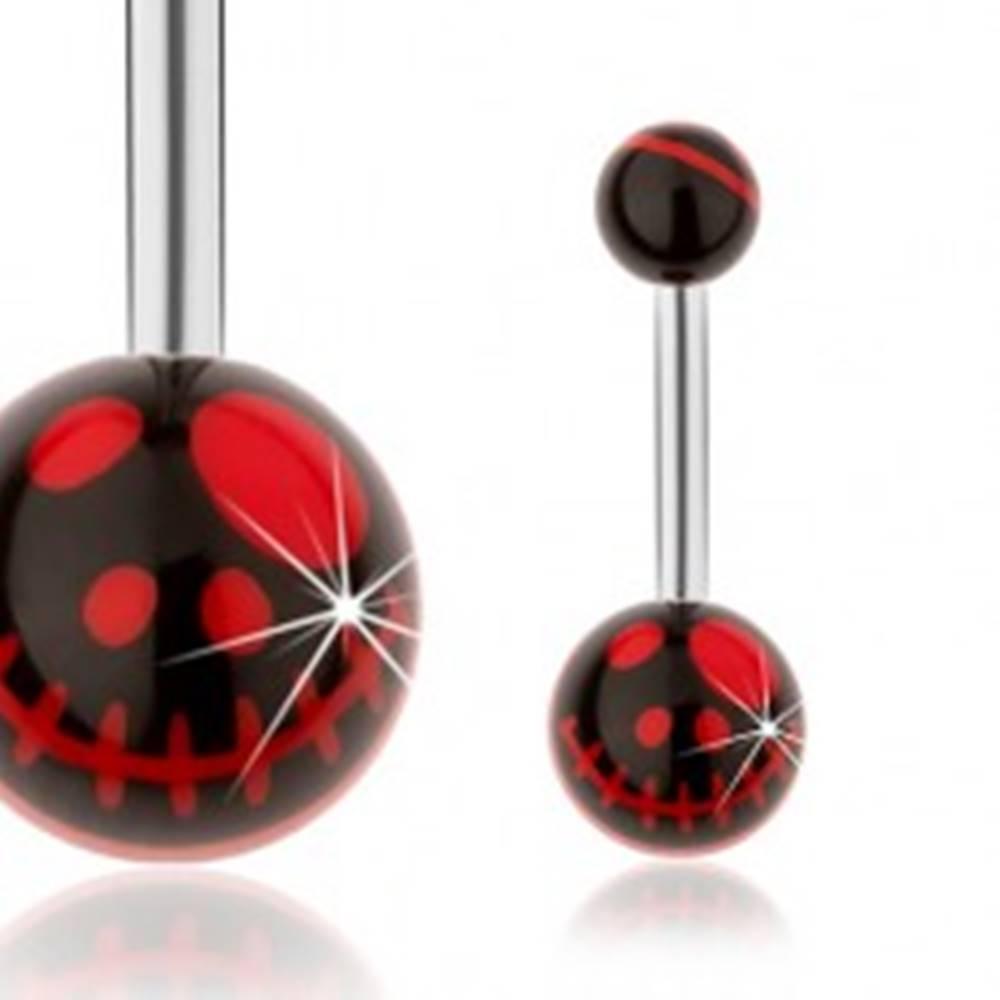 Šperky eshop Oceľový piercing do pupku, čierne guličky, motív lebky z animovaného filmu