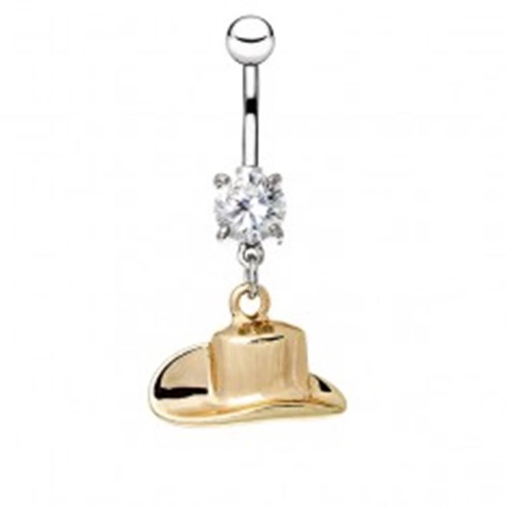 Šperky eshop Oceľový piercing do pupku - kovbojský klobúk v zlatej farbe