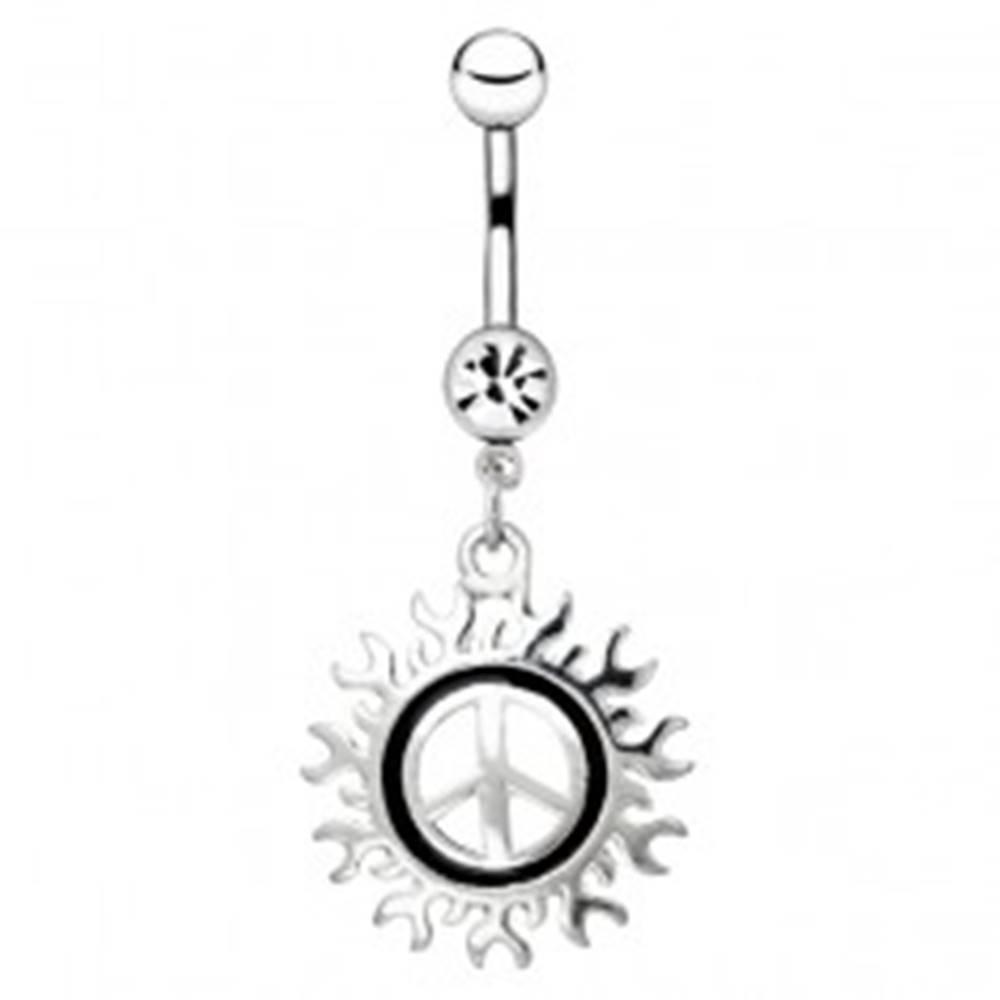 Šperky eshop Oceľový piercing do pupku - symbol mieru s motívom slnka
