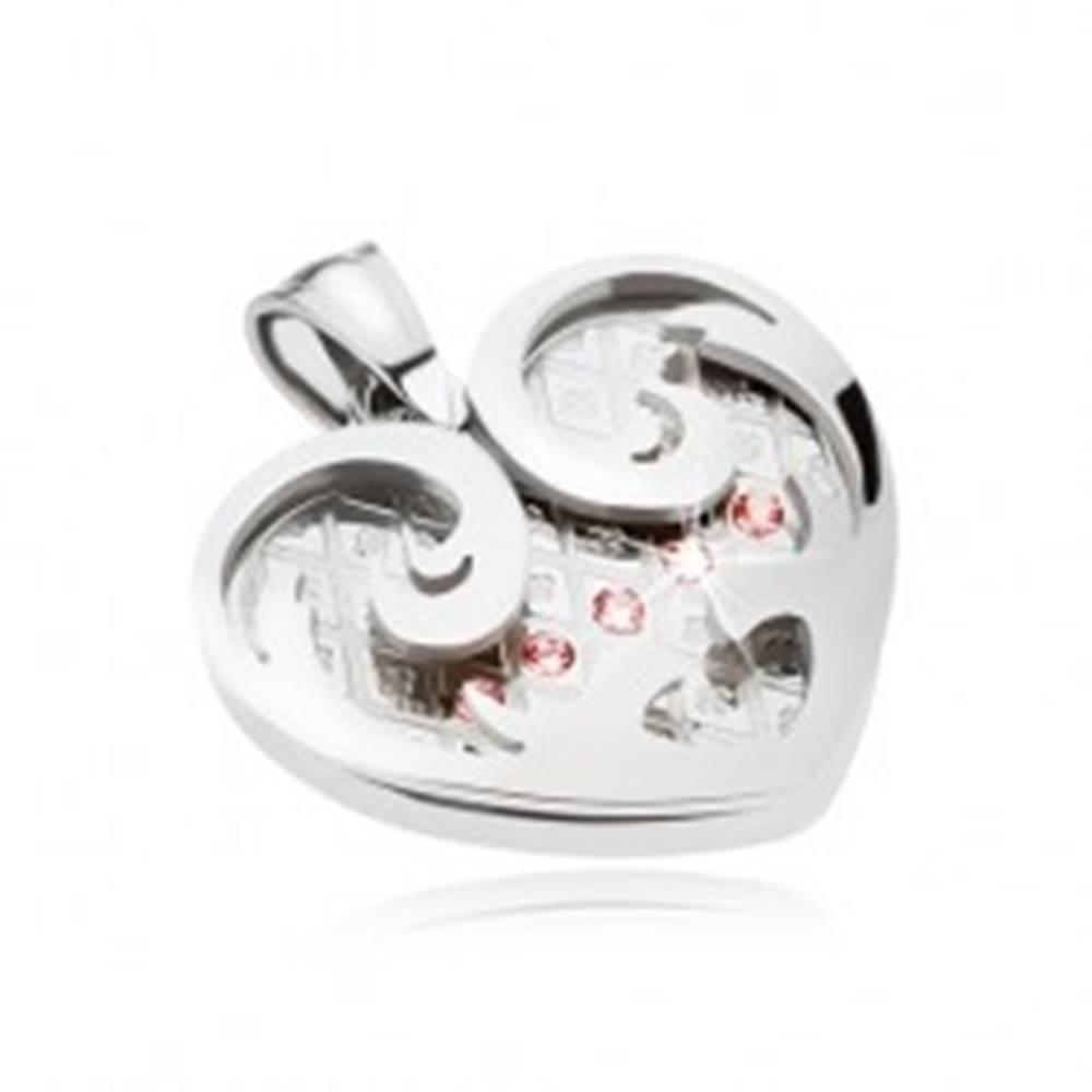 Šperky eshop Oceľový prívesok, srdce s ornamentmi v striebornej farbe, ružové zirkóny