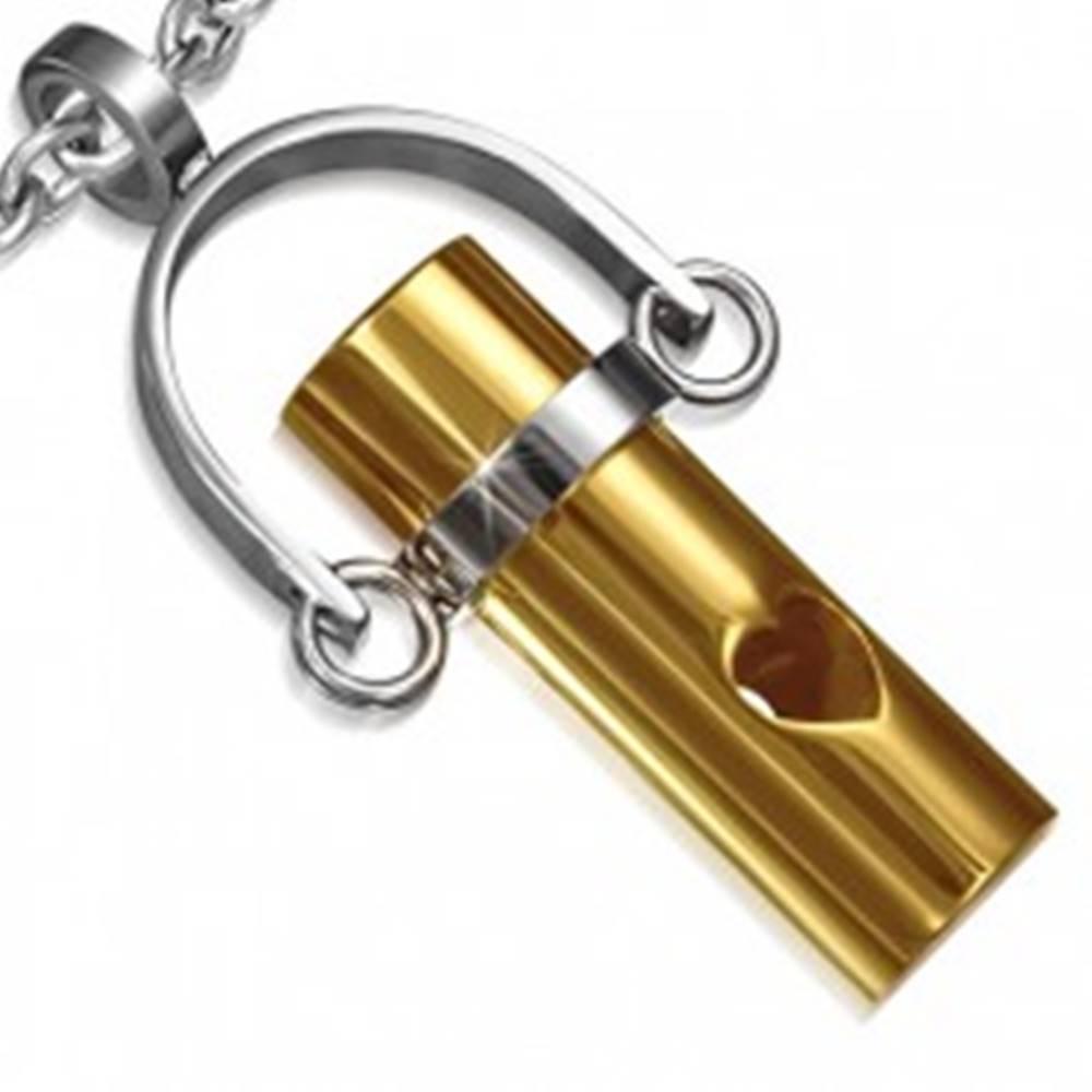Šperky eshop Oceľový prívesok - valček zlatej farby na závese, výrez srdca