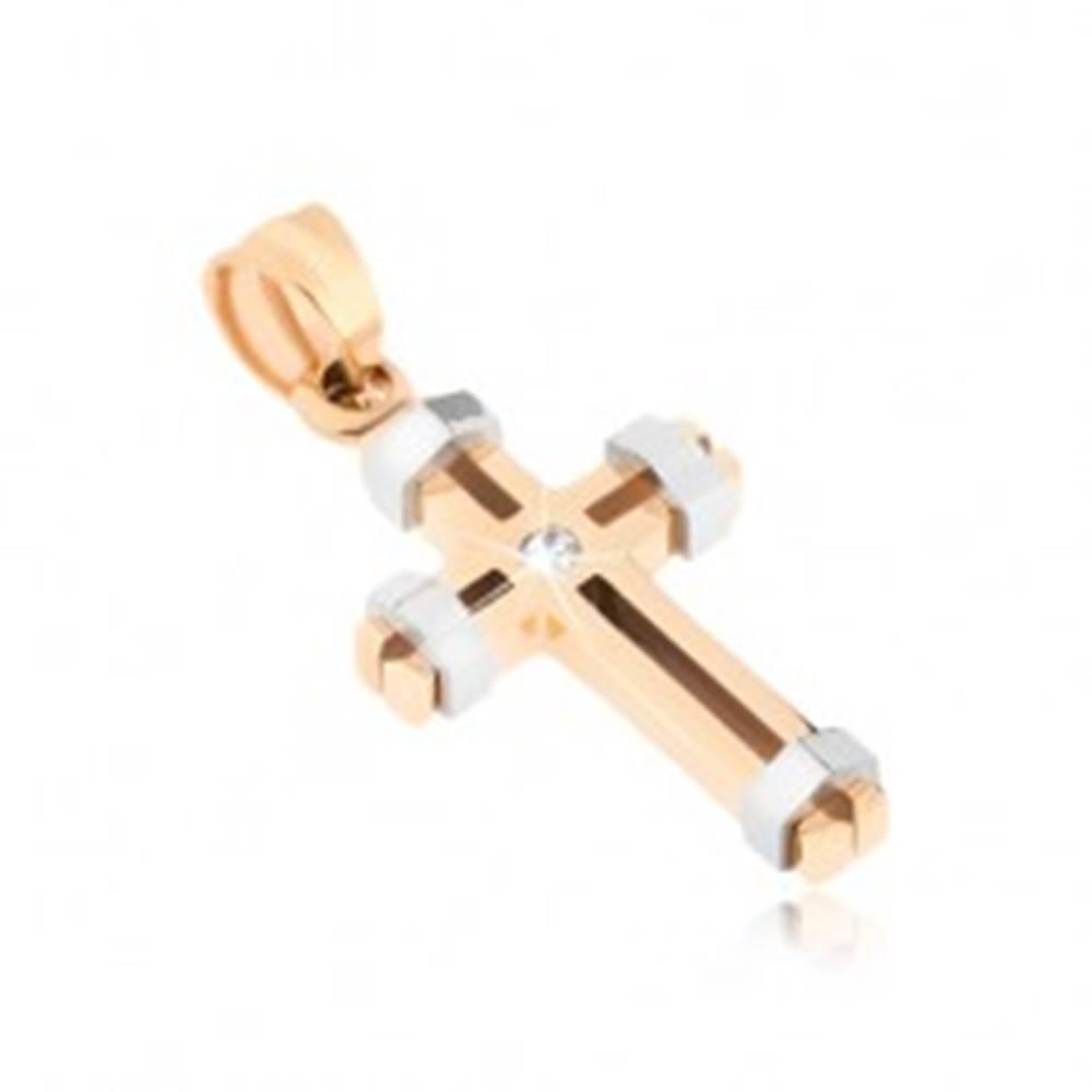 Šperky eshop Oceľový prívesok zlatej a striebornej farby, krížik, ozdobné výrezy, zirkón