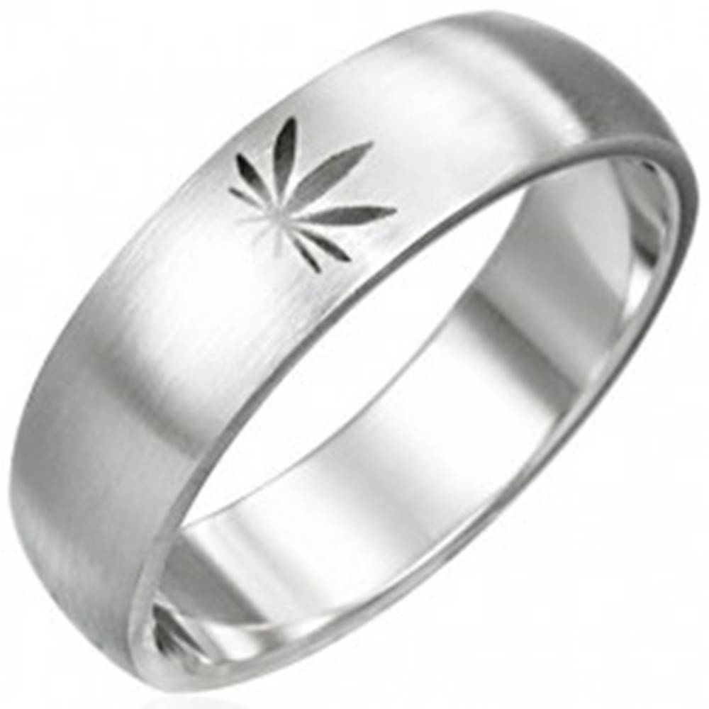 Šperky eshop Oceľový prsteň motív marihuana - Veľkosť: 51 mm