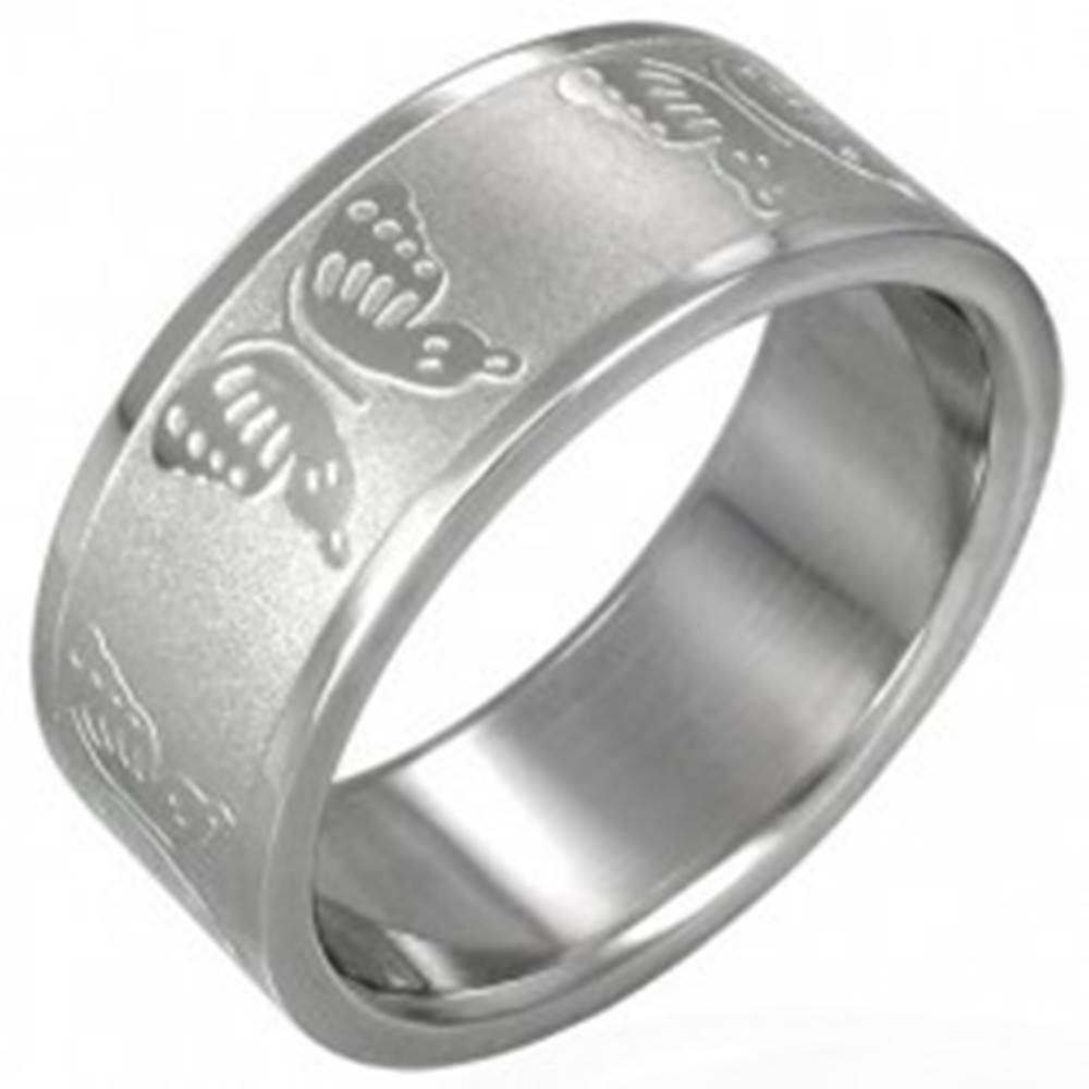 Šperky eshop Oceľový prsteň s motýlikmi - Veľkosť: 51 mm