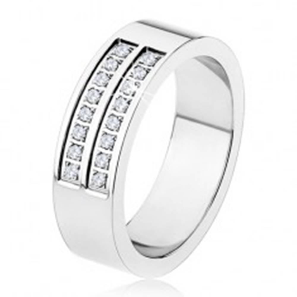 Šperky eshop Oceľový prsteň - strieborná farba, lesklý, dvojitá línia čírych zirkónov - Veľkosť: 54 mm