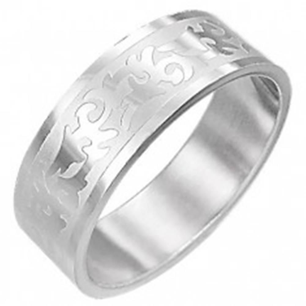 Šperky eshop Oceľový prsteň TRIBAL SYMBOL  - Veľkosť: 54 mm