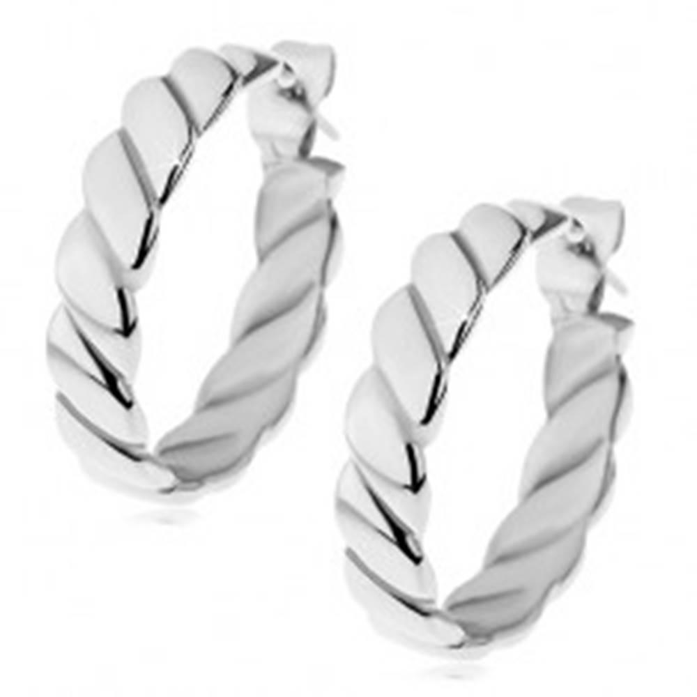Šperky eshop Okrúhle náušnice z chirurgickej ocele v striebornom odtieni, točené pruhy