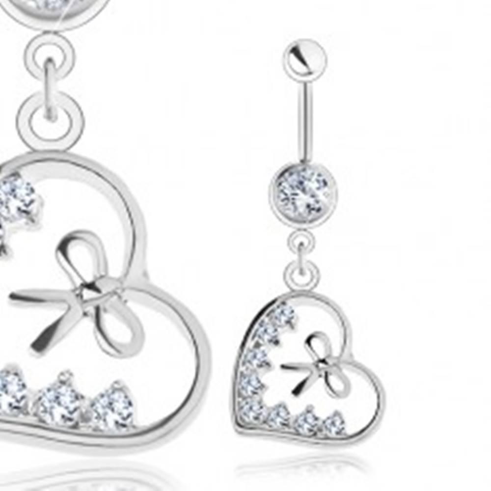 Šperky eshop Piercing do brucha, chirurgická oceľ, kontúra srdiečka, mašľa, číre zirkóny