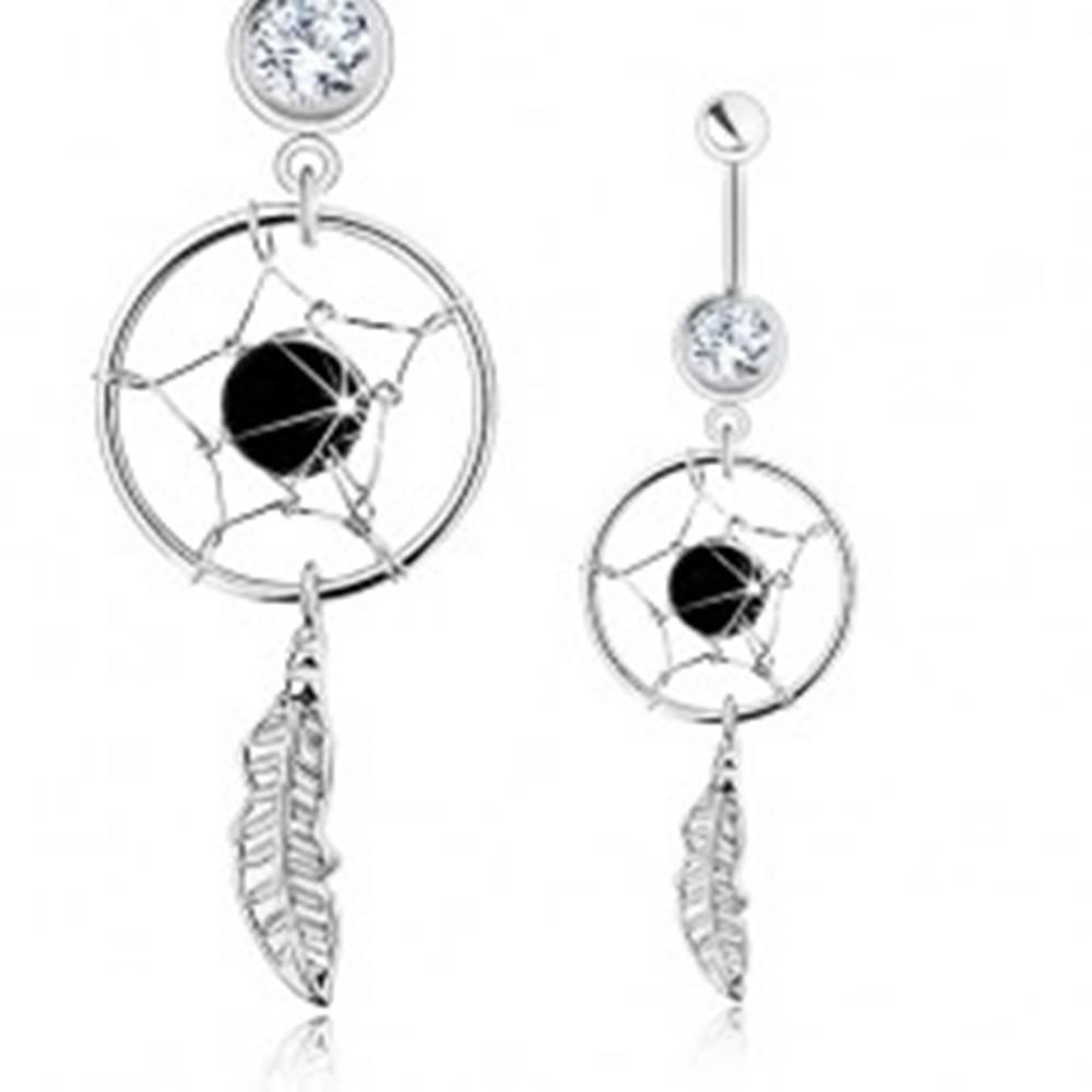 Šperky eshop Piercing do bruška, chirurgická oceľ, lapač snov, číry zirkón, čierna korálka
