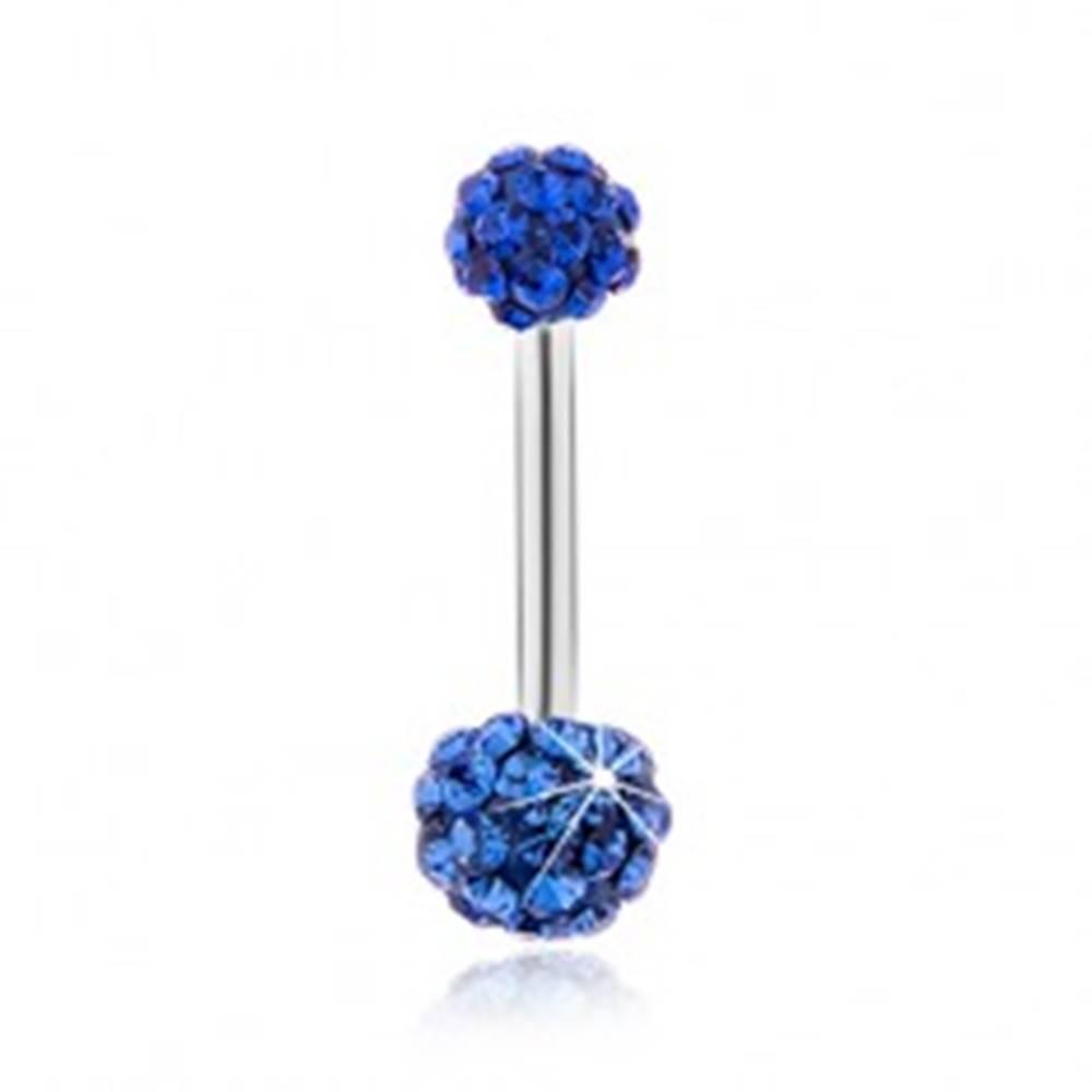 Šperky eshop Piercing do bruška z chirurgickej ocele, guličky posiate tmavomodrými zirkónmi