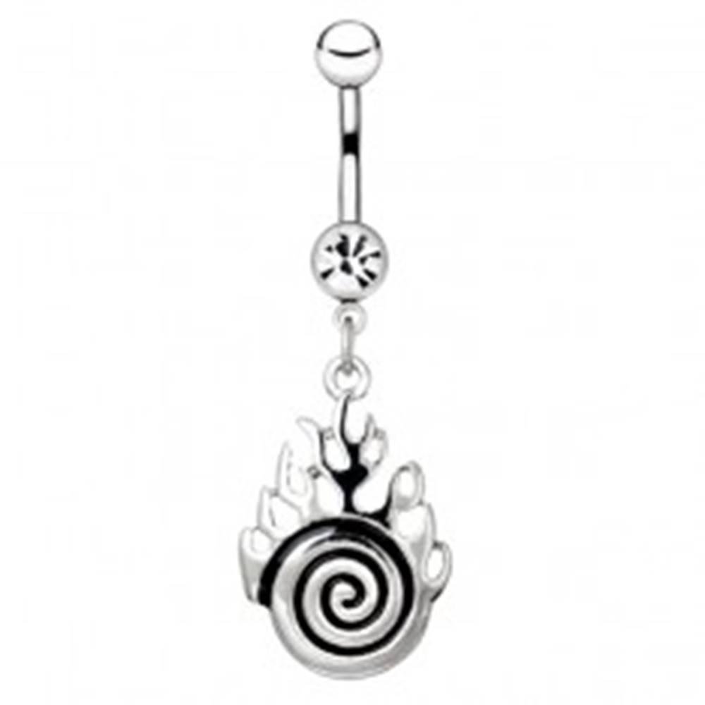 Šperky eshop Piercing do bruška z ocele - strieborná špirála s plameňmi
