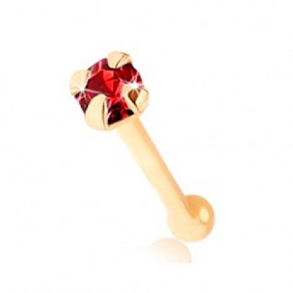 Šperky eshop Piercing do nosa v žltom 9K zlate, rovný - okrúhly ligotavý zirkónik červenej farby