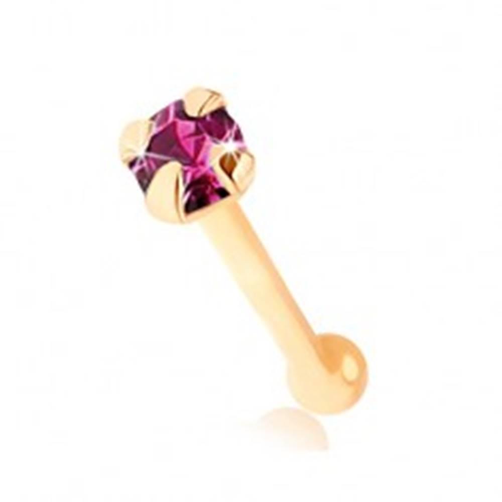 Šperky eshop Piercing do nosa v žltom 9K zlate, rovný - okrúhly zirkónik fialovej farby
