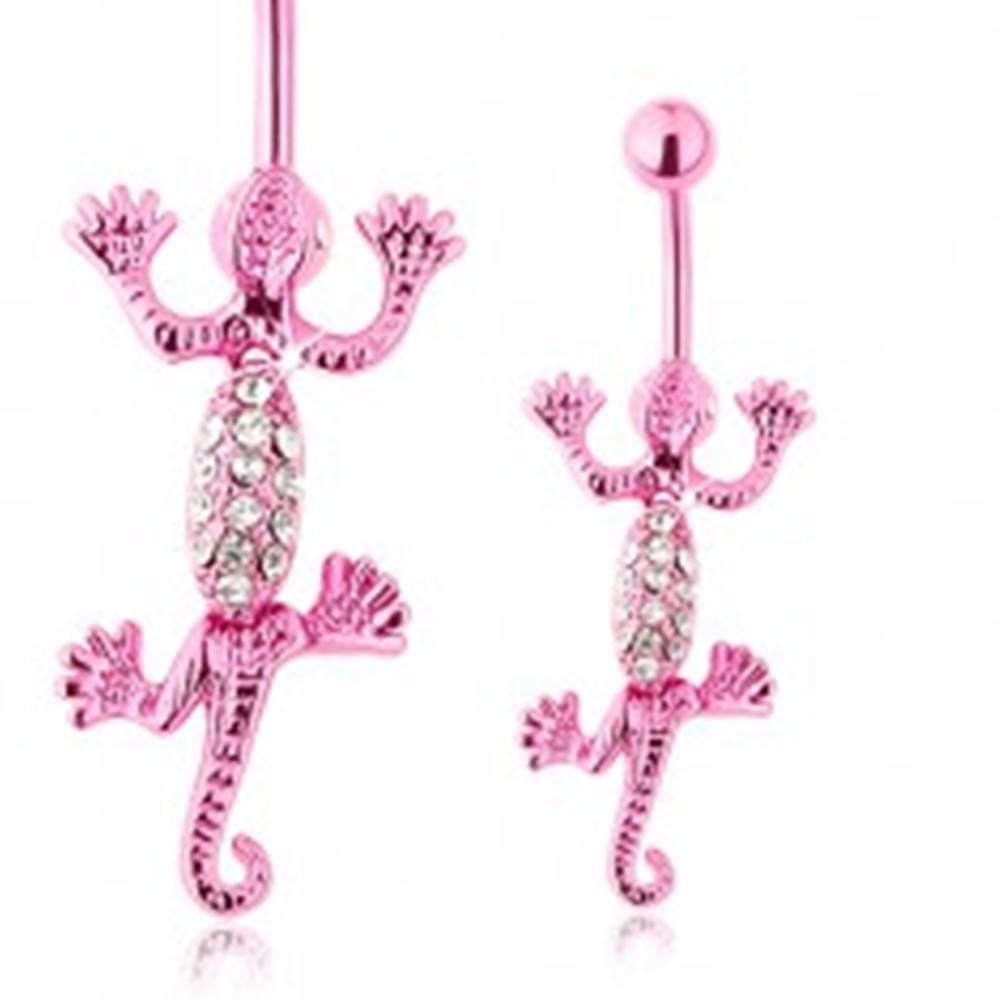 Šperky eshop Piercing do pupka, chirurgická oceľ, jašterička ružovej farby, zirkóniky