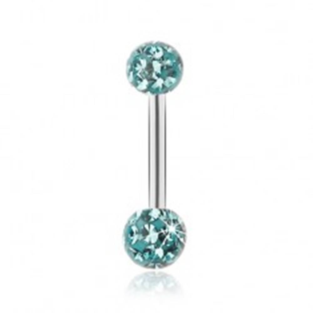 Šperky eshop Piercing do pupka, oceľ 316L, tyrkysové guličky so zirkónmi, číra glazúra