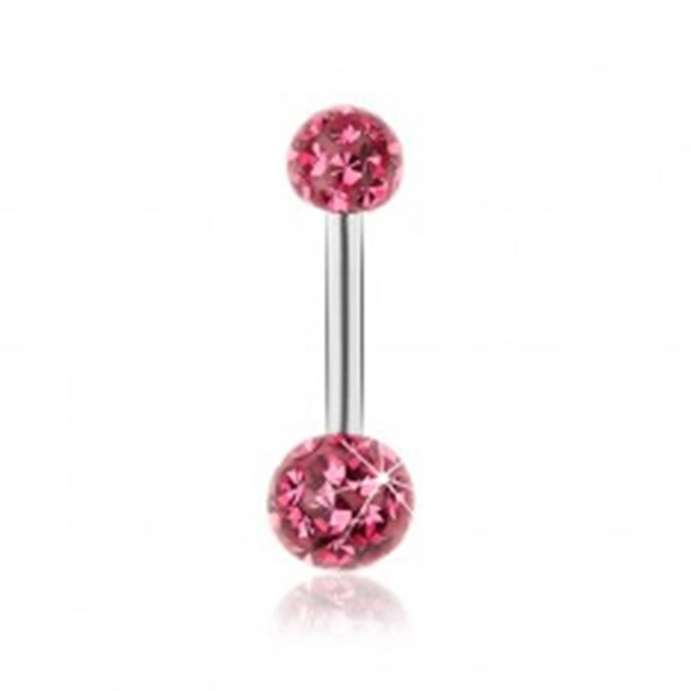 Šperky eshop Piercing do pupka z ocele 316L, trblietavé guličky, tmavoružový odtieň, glazúra