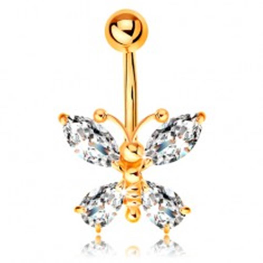 Šperky eshop Piercing do pupka zo žltého 9K zlata - motýľ so zirkónovými krídlami čírej farby