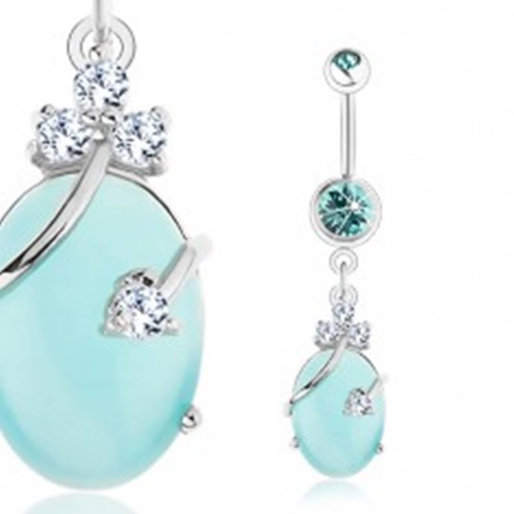 Šperky eshop Piercing do pupku - chirurgická oceľ, číre a akvamarínové zirkóny, svetlomodrý ovál