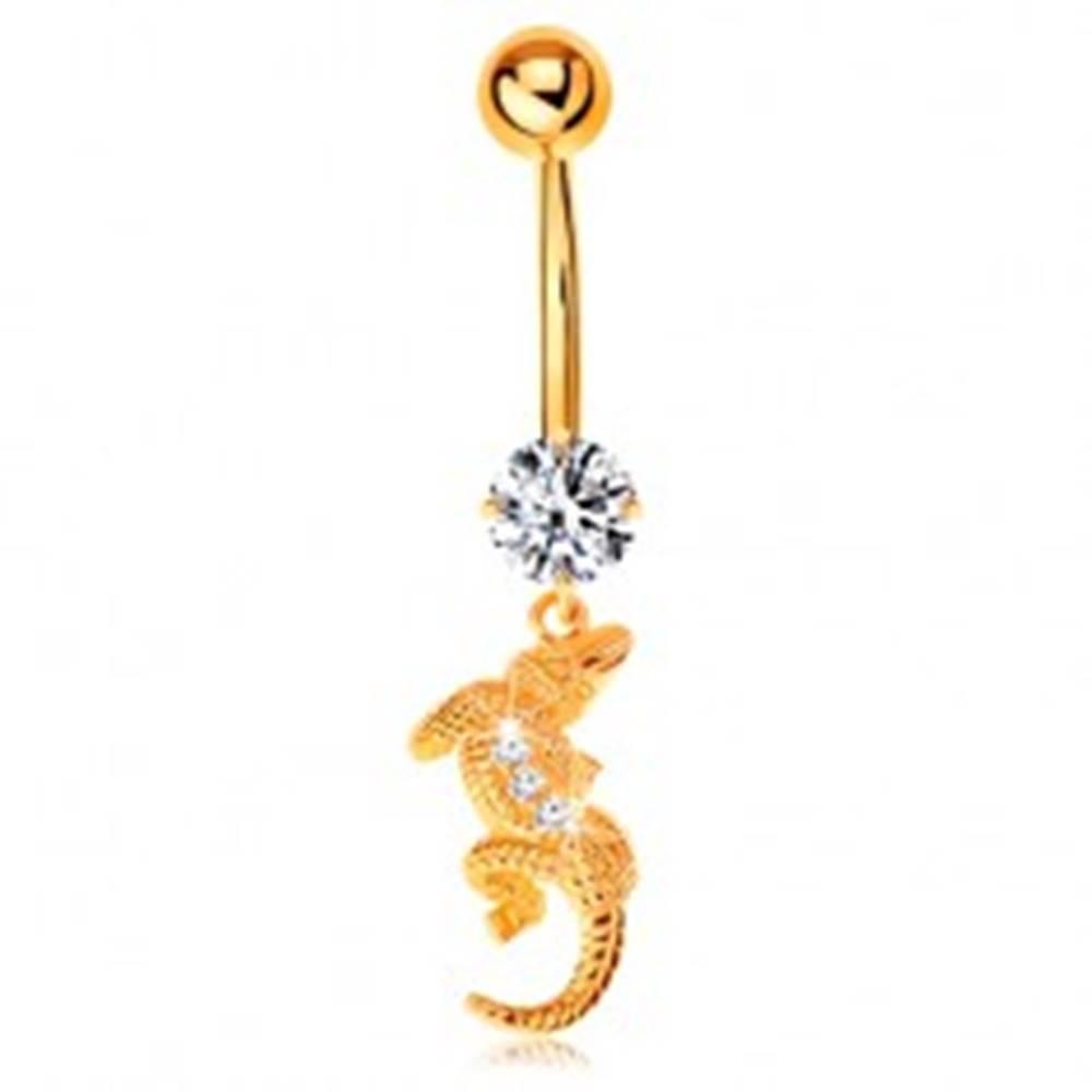 Šperky eshop Piercing do pupku v žltom 9K zlate - číry zirkón, malý krokodíl so zahnutým telom