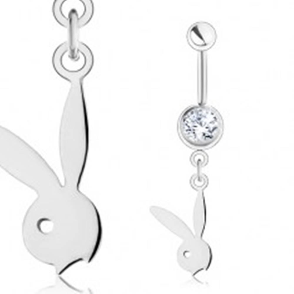 Šperky eshop Piercing do pupku z ocele 316L, strieborná farba, lesklý prívesok - hlava zajačika